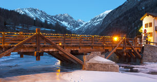 Wooden bridge in the alps Royalty Free Stock Photography