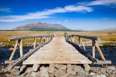 Wooden bridge in Altai Mountains Mongolia Royalty Free Stock Image