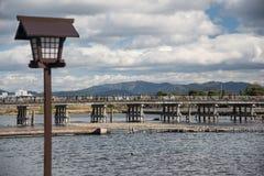 Wooden bridge in Arashiyama, Japan. Arashiyama is a popular tour Royalty Free Stock Photography
