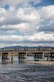 Wooden bridge in Arashiyama, Japan. Arashiyama is a popular tour Stock Images