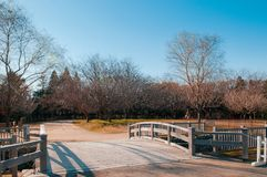 Wooden Bridge At Boso No Mura Open Air Museum, Chiba, Japan Stock Photo