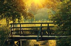 Wooden bridge in autumn Stock Photography