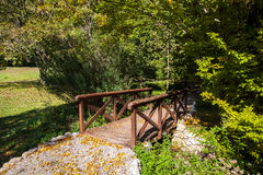 Wooden bridge in the autumn park Royalty Free Stock Images
