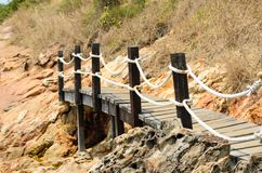 Wooden bridge background at sea Stock Photography