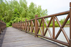Wooden bridge, wood deck Royalty Free Stock Photo