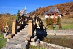 Wooden bridge at barsana monastery Royalty Free Stock Photography