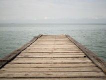 Wooden Bridge from beach to the sea ,closeup Royalty Free Stock Photography