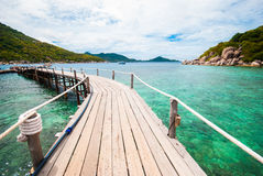 The wooden bridge at a beautiful beach Royalty Free Stock Photography