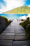 The wooden bridge at a beautiful beach Royalty Free Stock Photo