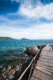 The wooden bridge at a beautiful beach Stock Photos