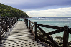 Wooden Bridge with beautiful seacape. In koh lan ,Thailand Stock Photo