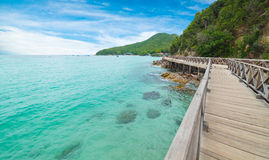 Wooden Bridge with beautiful seacape in koh lan ,Thailand Stock Images