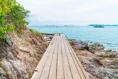 Wooden Bridge with beautiful tropical beach at Koh Larn in Patta Stock Photo