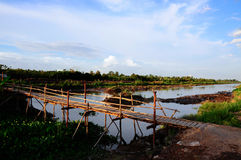 Wooden bridge in Ben Tre province, Mekong delta Stock Photography