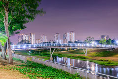 Wooden Bridge. Bishan Park bridge at night Royalty Free Stock Photo