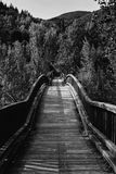 Wooden bridge in black and white over Fluvia River Royalty Free Stock Photo