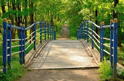 Wooden bridge blue Royalty Free Stock Images