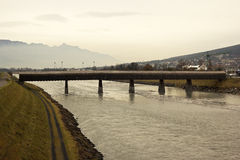 The wooden bridge on the border of Switzerland and Liechtenstein Royalty Free Stock Images