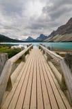 Wooden bridge on Bow Lake Stock Photography