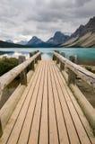 Wooden bridge on Bow Lake Royalty Free Stock Photo