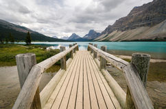 Wooden bridge on Bow Lake Royalty Free Stock Photography