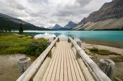 Wooden bridge on Bow Lake Stock Photos