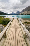 Wooden bridge on Bow Lake Stock Image