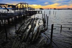 Wooden bridge. Is broken on lake Royalty Free Stock Photo