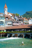 Wooden bridge and buildings in Thun Royalty Free Stock Images