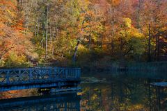 Wooden bridge on the Central Lake of the Ermitage Arlesheim Royalty Free Stock Images