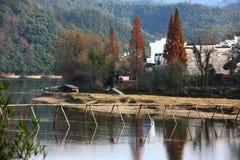 Wooden bridge in chinese village Stock Photo
