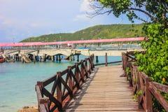 Wooden bridge coast. Wooden bridge around the coast of island Stock Photography