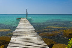 Wooden bridge on the coast of Kood island Stock Images