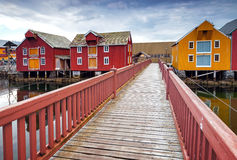 Wooden bridge and colorful houses in Norway Stock Photo