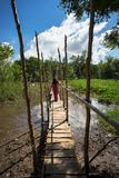 Wooden bridge connecting Champa village to river in Mekong delta, Vietnam. Champa girl walking on bridge.  Stock Image
