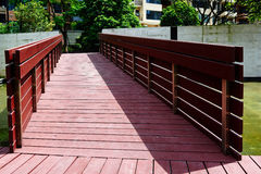 Wooden bridge corridor Royalty Free Stock Photography