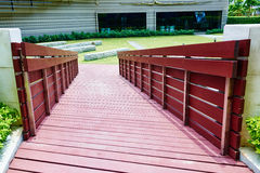Wooden bridge corridor Royalty Free Stock Image