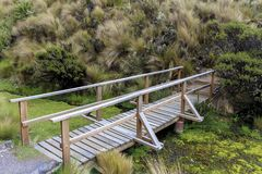 Wooden bridge in Cotopaxi national park royalty free stock image