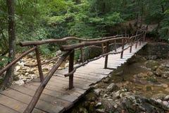 Wooden bridge, Crimea Stock Photo
