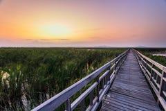 Wooden bridge cross around marsh in sunset time at Sam Roi Yot National Park,Thailand Stock Images