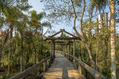 Wooden bridge at Curitiba Botanical Garden - Curitiba, Parana, Brazil Royalty Free Stock Photo