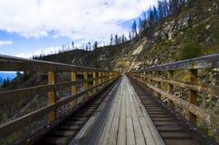 Wooden Bridge. Cycling path at myra canyon with wooden bridge Royalty Free Stock Photography