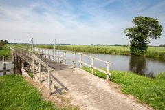 Wooden bridge in Dutch National Park Stock Photography