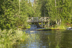 Wooden bridge. In eastern Finland royalty free stock image