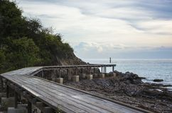 Wooden bridge. For entry the beautiful island stock photo