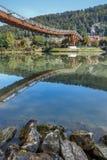 Wooden bridge in Essing - Altmühltal, Bavaria stock photos