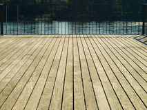Wooden bridge with fence Royalty Free Stock Images