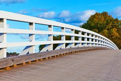Wooden bridge in Finland Stock Images