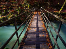 Wooden bridge. Footbridge foot-bridge nature natural environment long exposure Stock Images