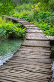 Wooden bridge footpath in Plitvice National Park in Croatia Stock Photography